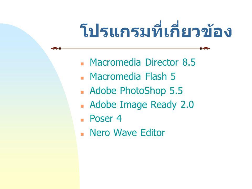 โปรแกรมที่เกี่ยวข้อง Macromedia Director 8.5 Macromedia Flash 5 Adobe PhotoShop 5.5 Adobe Image Ready 2.0 Poser 4 Nero Wave Editor