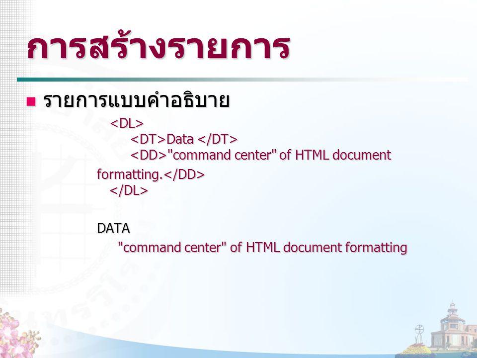 การสร้างรายการ รายการแบบคำอธิบาย รายการแบบคำอธิบาย Data