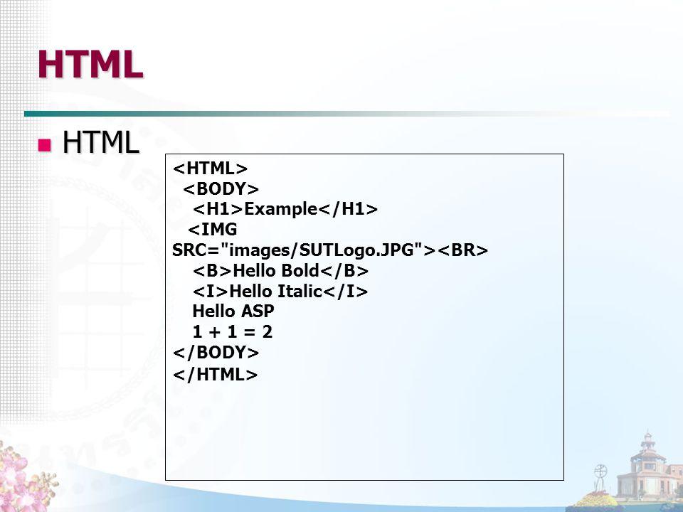 HTML HTML HTML Example Hello Bold Hello Italic Hello ASP 1 + 1 = 2