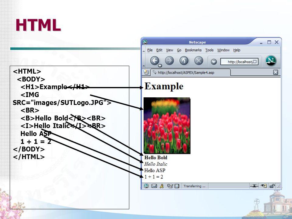Example Hello Bold Hello Italic Hello ASP 1 + 1 = 2 HTML