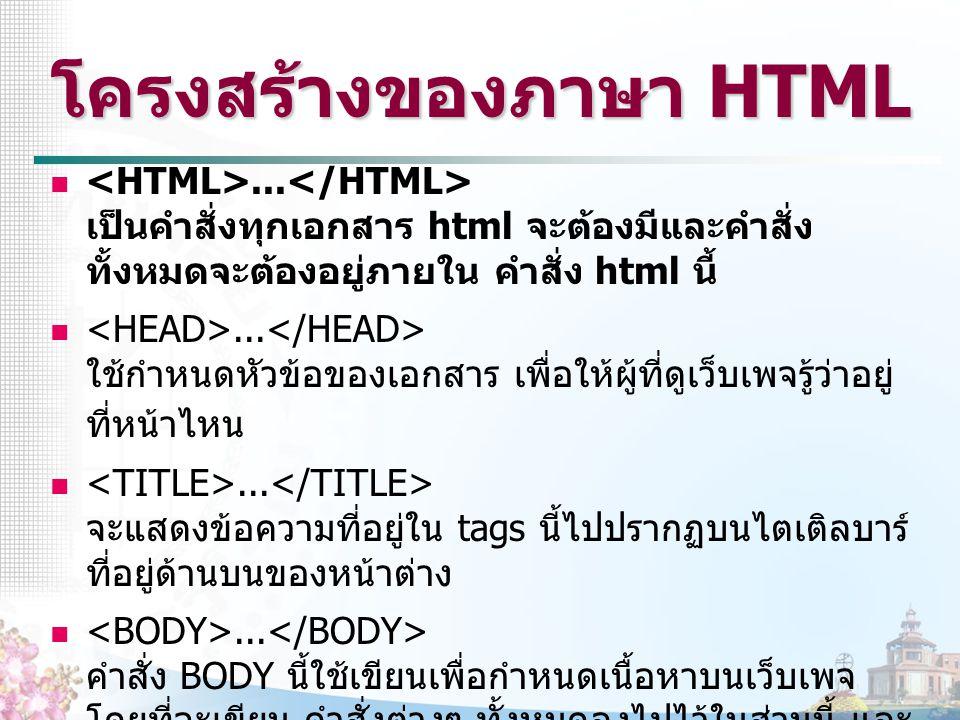 โครงสร้างของภาษา HTML... เป็นคำสั่งทุกเอกสาร html จะต้องมีและคำสั่ง ทั้งหมดจะต้องอยู่ภายใน คำสั่ง html นี้... ใช้กำหนดหัวข้อของเอกสาร เพื่อให้ผู้ที่ดู