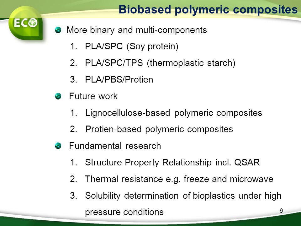 9 More binary and multi-components 1.PLA/SPC (Soy protein) 2.PLA/SPC/TPS (thermoplastic starch) 3.PLA/PBS/Protien Future work 1. Lignocellulose-based