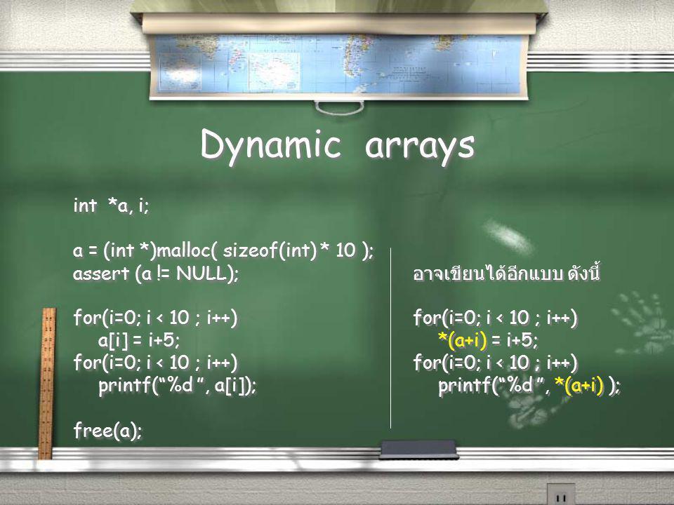 Dynamic arrays int *a, i; a = (int *)malloc( sizeof(int) * 10 ); assert (a != NULL); for(i=0; i < 10 ; i++) a[i] = i+5; for(i=0; i < 10 ; i++) printf( %d , a[i]); free(a); int *a, i; a = (int *)malloc( sizeof(int) * 10 ); assert (a != NULL); for(i=0; i < 10 ; i++) a[i] = i+5; for(i=0; i < 10 ; i++) printf( %d , a[i]); free(a); อาจเขียนได้อีกแบบ ดังนี้ for(i=0; i < 10 ; i++) *(a+i) = i+5; for(i=0; i < 10 ; i++) printf( %d , *(a+i) ); อาจเขียนได้อีกแบบ ดังนี้ for(i=0; i < 10 ; i++) *(a+i) = i+5; for(i=0; i < 10 ; i++) printf( %d , *(a+i) );
