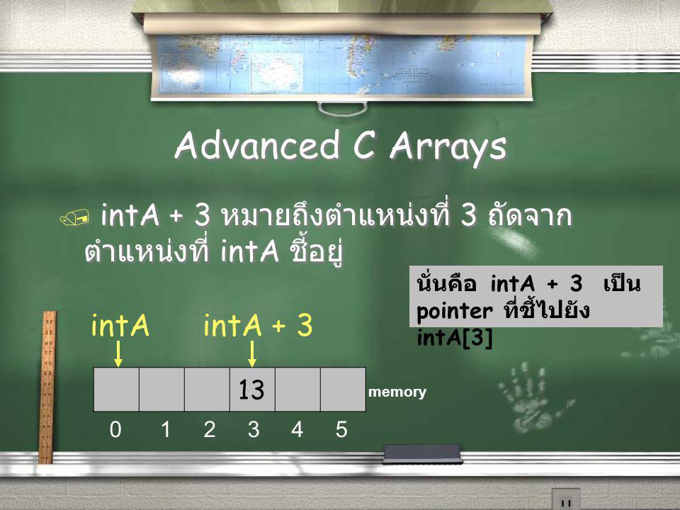 Advanced C Arrays / intA + 3 หมายถึงตำแหน่งที่ 3 ถัดจาก ตำแหน่งที่ intA ชี้อยู่ 13 0 1 2 3 4 5 memory intA + 3 นั่นคือ intA + 3 เป็น pointer ที่ชี้ไปยัง intA[3] intA