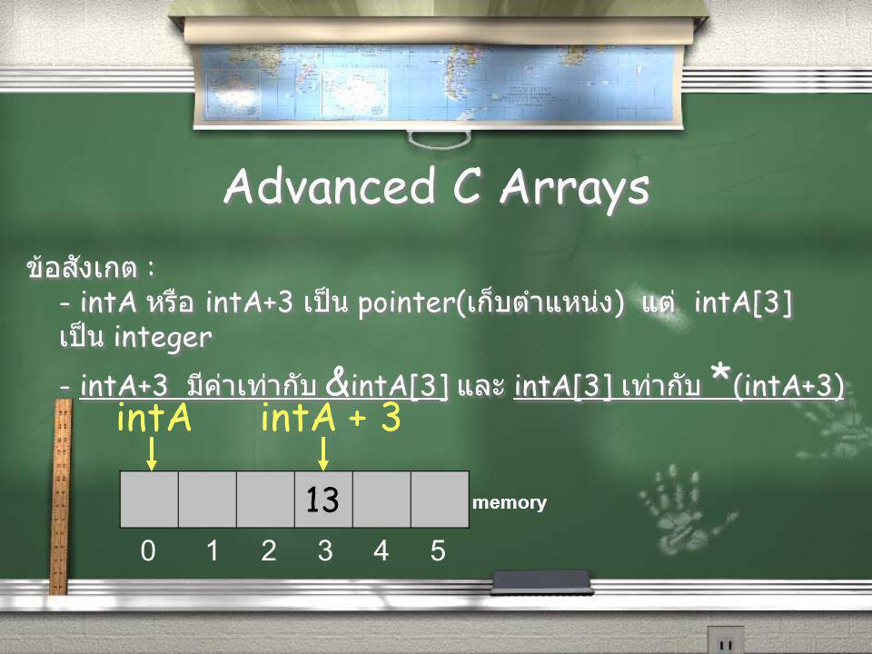 Advanced C Arrays ข้อสังเกต : - intA หรือ intA+3 เป็น pointer( เก็บตำแหน่ง ) แต่ intA[3] เป็น integer - intA+3 มีค่าเท่ากับ & intA[3] และ intA[3] เท่ากับ * (intA+3) ข้อสังเกต : - intA หรือ intA+3 เป็น pointer( เก็บตำแหน่ง ) แต่ intA[3] เป็น integer - intA+3 มีค่าเท่ากับ & intA[3] และ intA[3] เท่ากับ * (intA+3) 13 0 1 2 3 4 5 memory intA + 3intA