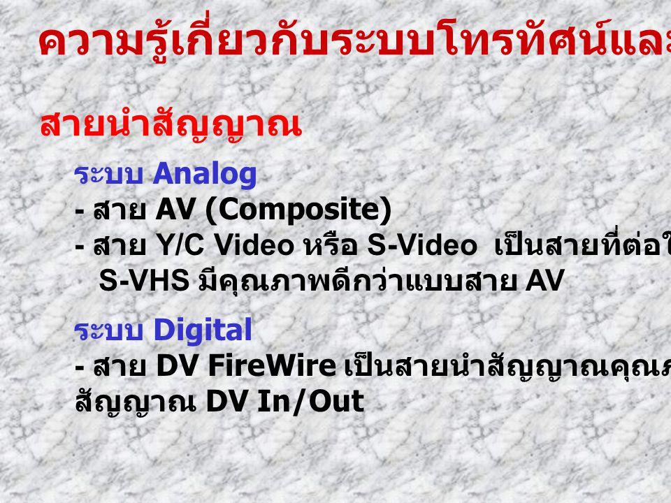 ความรู้เกี่ยวกับระบบโทรทัศน์และวีดีโอ สายนำสัญญาณ ระบบ Analog - สาย AV (Composite) - สาย Y/C Video หรือ S-Video เป็นสายที่ต่อใช้กับกล้องวีดีโอแบบ S-VH
