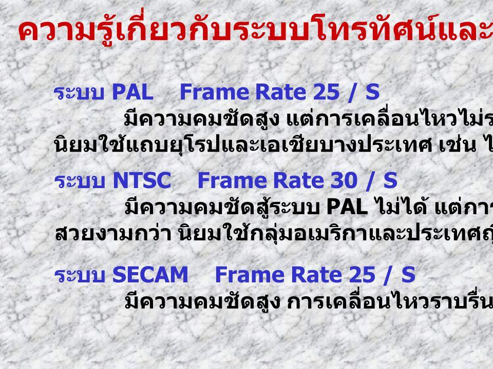 ความรู้เกี่ยวกับระบบโทรทัศน์และวีดีโอ ระบบ PAL Frame Rate 25 / S มีความคมชัดสูง แต่การเคลื่อนไหวไม่ราบรื่นเท่ากับระบบอื่น นิยมใช้แถบยุโรปและเอเชียบางป
