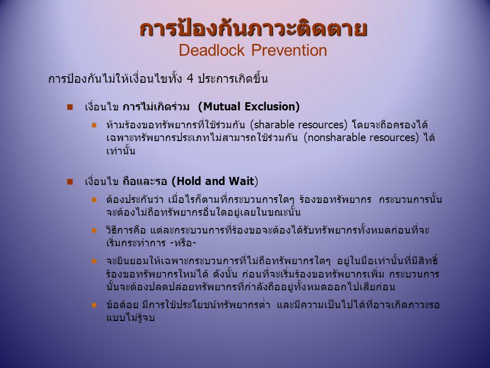 การป้องกันภาวะติดตาย การป้องกันภาวะติดตาย Deadlock Prevention n เงื่อนไข การไม่เกิดร่วม (Mutual Exclusion) l ห้ามร้องขอทรัพยากรที่ใช้ร่วมกัน (sharable