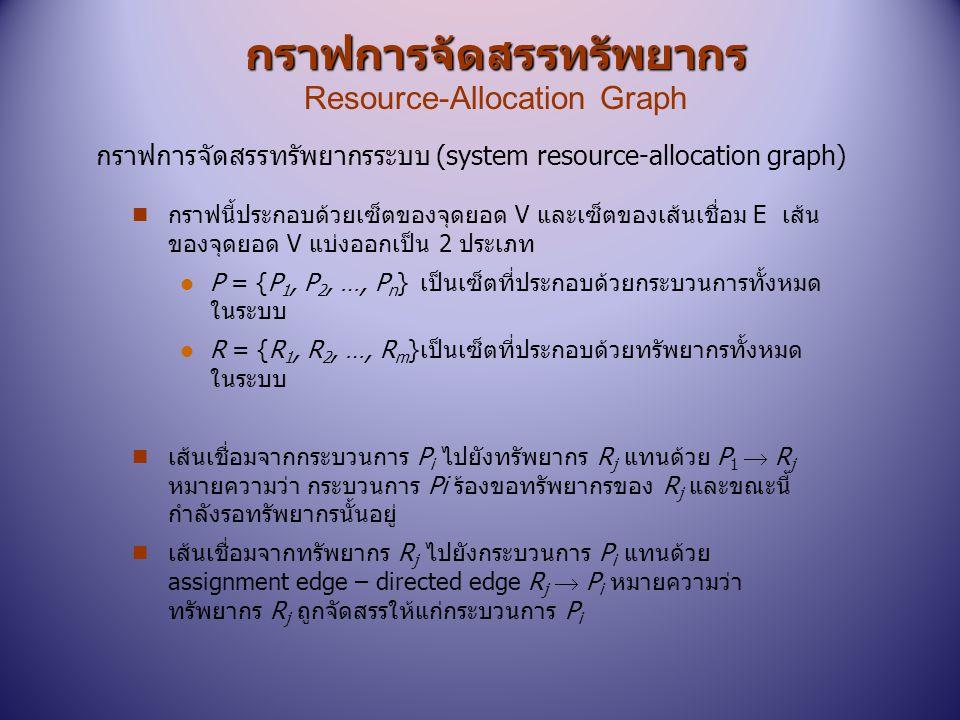 กราฟการจัดสรรทรัพยากร กราฟการจัดสรรทรัพยากร Resource-Allocation Graph n กราฟนี้ประกอบด้วยเซ็ตของจุดยอด V และเซ็ตของเส้นเชื่อม E เส้น ของจุดยอด V แบ่งอ
