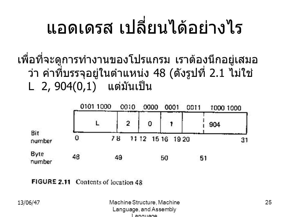 13/06/47Machine Structure, Machine Language, and Assembly Language 25 แอดเดรส เปลี่ยนได้อย่างไร เพื่อที่จะดูการทำงานของโปรแกรม เราต้องนึกอยู่เสมอ ว่า ค่าที่บรรจุอยู่ในตำแหน่ง 48 ( ดังรูปที่ 2.1 ไม่ใช่ L 2, 904(0,1) แต่มันเป็น
