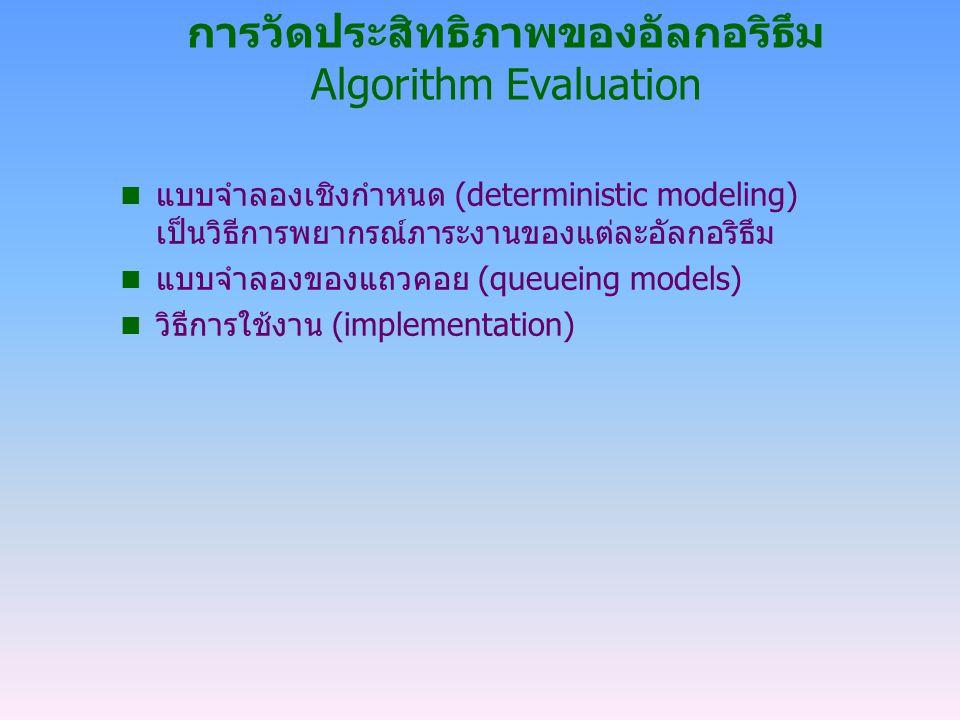 การวัดประสิทธิภาพของอัลกอริธึม Algorithm Evaluation n แบบจำลองเชิงกำหนด (deterministic modeling) เป็นวิธีการพยากรณ์ภาระงานของแต่ละอัลกอริธึม n แบบจำลอ