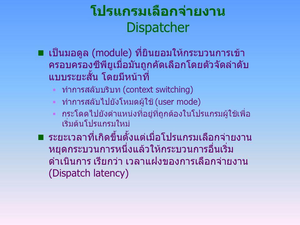 โปรแกรมเลือกจ่ายงาน Dispatcher n เป็นมอดูล (module) ที่ยินยอมให้กระบวนการเข้า ครอบครองซีพียูเมื่อมันถูกคัดเลือกโดยตัวจัดลำดับ แบบระยะสั้น โดยมีหน้าที่