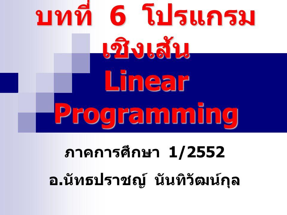 ประเด็นบทที่ 6 ลักษณะของปัญหา ประโยชน์ของโปรแกรมเชิงเส้น การสร้างแบบจำลองโปรแกรมเชิงเส้น การแก้ปัญหาของโปรแกรมเชิงเส้น ปัญหาควบคูในโปรแกรมชิงเส้น