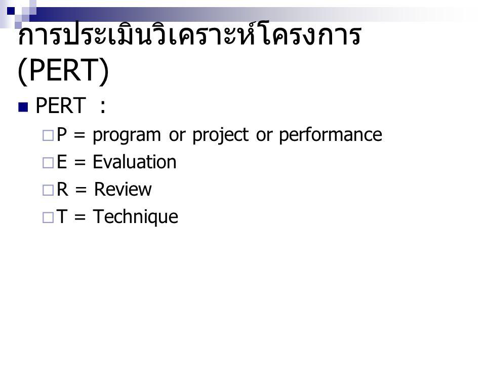 การประเมินวิเคราะห์โครงการ (PERT) PERT :  P = program or project or performance  E = Evaluation  R = Review  T = Technique