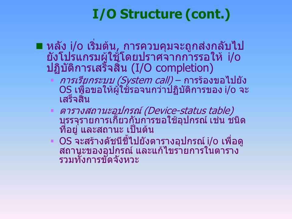 I/O Structure (cont.) n หลัง i/o เริ่มต้น, การควบคุมจะถูกส่งกลับไป ยังโปรแกรมผู้ใช้โดยปราศจากการรอให้ i/o ปฏิบัติการเสร็จสิ้น (I/O completion)  การเร