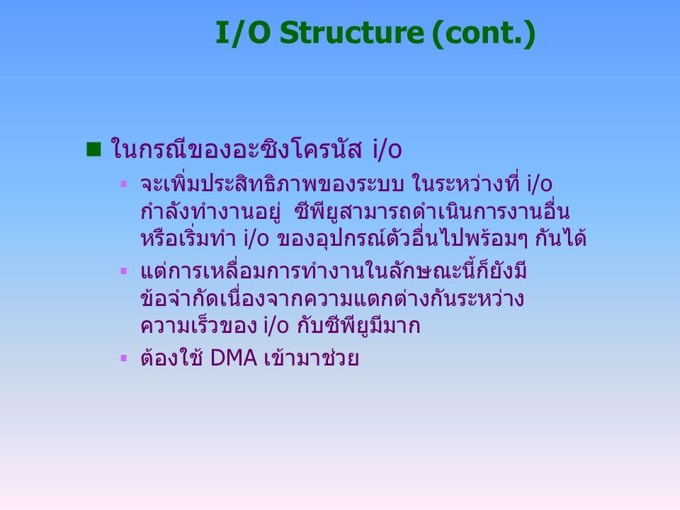 I/O Structure (cont.) n ในกรณีของอะซิงโครนัส i/o  จะเพิ่มประสิทธิภาพของระบบ ในระหว่างที่ i/o กำลังทำงานอยู่ ซีพียูสามารถดำเนินการงานอื่น หรือเริ่มทำ
