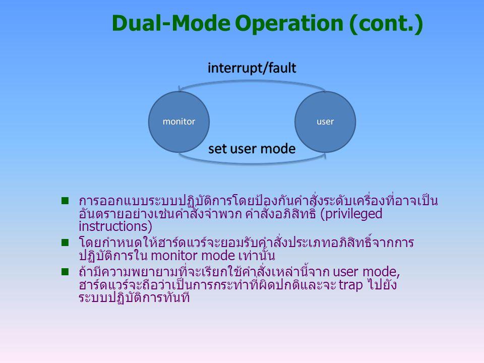 Dual-Mode Operation (cont.) n การออกแบบระบบปฏิบัติการโดยป้องกันคำสั่งระดับเครื่องที่อาจเป็น อันตรายอย่างเช่นคำสั่งจำพวก คำสั่งอภิสิทธิ์ (privileged in