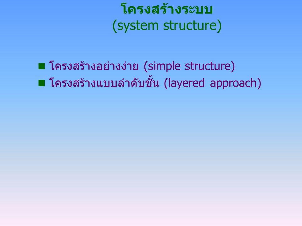 โครงสร้างระบบ (system structure) n โครงสร้างอย่างง่าย (simple structure) n โครงสร้างแบบลำดับชั้น (layered approach)