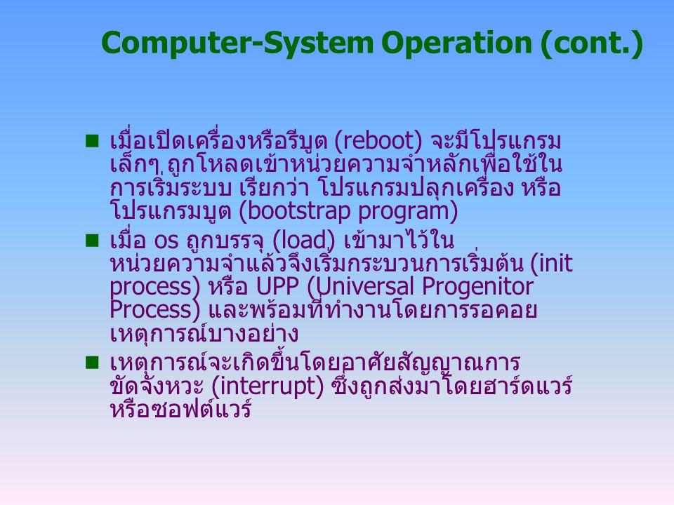 หน้าที่ของการขัดจังหวะ Common Functions of Interrupts n ฮาร์ดแวร์อินเทอร์รัพท์จะถูกส่งไปยังซีพียูผ่านทางบัสระบบ n ซอฟต์แวร์อินเทอร์รัพท์จะอาศัยคำสั่งปฏิบัติการพิเศษที่ เรียกว่า การเรียกระบบ (system call หรือ monitor call) n การขัดจังหวะแต่ละชนิดจะได้รับการตอบสนองด้วย service routine ที่เหมาะสมกับการขัดจังหวะนั้นๆ n เมื่อซีพียูถูกขัดจังหวะมันจะหยุดทำงานชั่วคราวเพื่อให้ อุปกรณ์ทำการถ่ายข้อมูลจนแล้วเสร็จ เพื่อป้องการสูญเสีย การขัดจังหวะ (lost interrupt) จากนั้น ซีพียูจึงจะกลับไป ทำงานที่ค้างอยู่ต่อไป n OS จะรักษาสถานะของซีพียูปัจจุบันไว้โดยเก็บเรจิสเตอร์ และตัวนับโปรแกรมขณะนั้น (program counter)