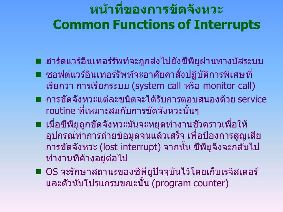 หน้าที่ของการขัดจังหวะ Common Functions of Interrupts n ฮาร์ดแวร์อินเทอร์รัพท์จะถูกส่งไปยังซีพียูผ่านทางบัสระบบ n ซอฟต์แวร์อินเทอร์รัพท์จะอาศัยคำสั่งป