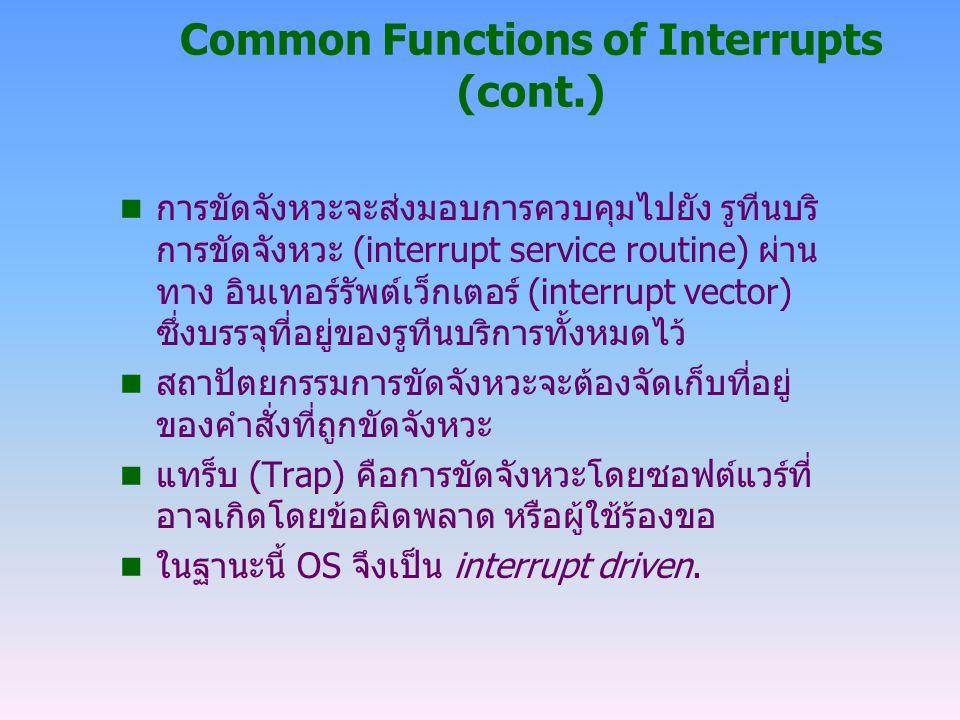 General System Architecture (cont.) n คำสั่งอภิสิทธิ์ (privileged instructions)  I/O instructions  คำสั่งเกี่ยวกับการแก้ไขค่าเรจิสเตอร์สำหรับจัดการ หน่วยความจำ และ timer  คำสั่งหยุด (halt instruction)  คำสั่งเกี่ยวกับการเปิด/ปิดระบบการขัดจังหวะ  คำสั่งในการเปลี่ยนจาก user mode เป็น monitor mode รวมทั้งการเปลี่ยนค่า mode bit ของ ฮาร์ดแวร์