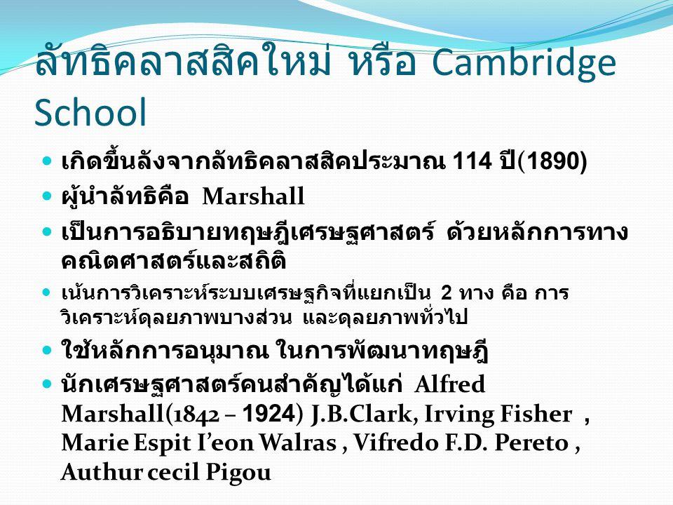ลัทธิคลาสสิคใหม่ หรือ Cambridge School เกิดขึ้นลังจากลัทธิคลาสสิคประมาณ 114 ปี (1890) ผู้นำลัทธิคือ Marshall เป็นการอธิบายทฤษฎีเศรษฐศาสตร์ ด้วยหลักการ