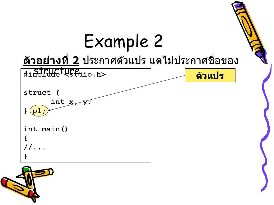 Example 2 ตัวอย่างที่ 2 ประกาศตัวแปร แต่ไม่ประกาศชื่อของ structure ตัวแปร #include struct { int x, y; } p1; int main() { //... }