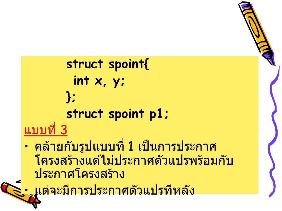 struct spoint{ int x, y; }; struct spoint p1; แบบที่ 3 คล้ายกับรูปแบบที่ 1 เป็นการประกาศ โครงสร้างแต่ไม่ประกาศตัวแปรพร้อมกับ ประกาศโครงสร้าง แต่จะมีกา