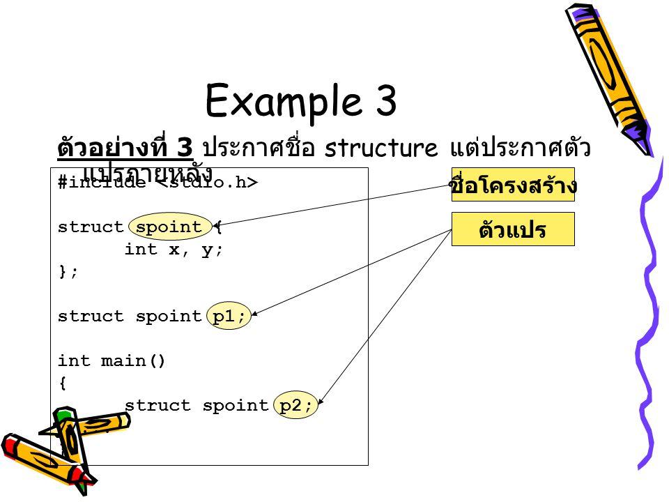 Example 3 ตัวอย่างที่ 3 ประกาศชื่อ structure แต่ประกาศตัว แปรภายหลัง ชื่อโครงสร้างตัวแปร #include struct spoint { int x, y; }; struct spoint p1; int m