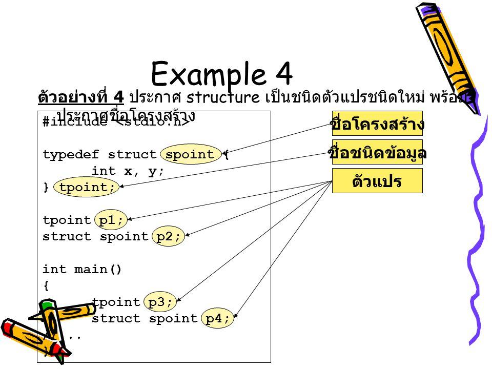 Example 4 ตัวอย่างที่ 4 ประกาศ structure เป็นชนิดตัวแปรชนิดใหม่ พร้อม ประกาศชื่อโครงสร้าง ชื่อโครงสร้างชื่อชนิดข้อมูลตัวแปร #include typedef struct sp