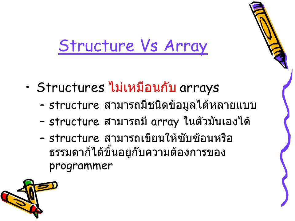 Structure Vs Array Structures ไม่เหมือนกับ arrays –structure สามารถมีชนิดข้อมูลได้หลายแบบ –structure สามารถมี array ในตัวมันเองได้ –structure สามารถเข
