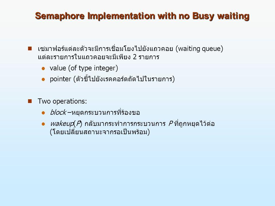 Semaphore Implementation with no Busy waiting n เซมาฟอร์แต่ละตัวจะมีการเชื่อมโยงไปยังแถวคอย (waiting queue) แต่ละรายการในแถวคอยจะมีเพียง 2 รายการ l value (of type integer) l pointer (ตัวชี้ไปยังเรคคอร์ดถัดไปในรายการ) n Two operations: l block –หยุดกระบวนการที่ร้องขอ l wakeup(P) กลับมากระทำการกระบวนการ P ที่ถูกหยุดไว้ต่อ (โดยเปลี่ยนสถานะจากรอเป็นพร้อม)