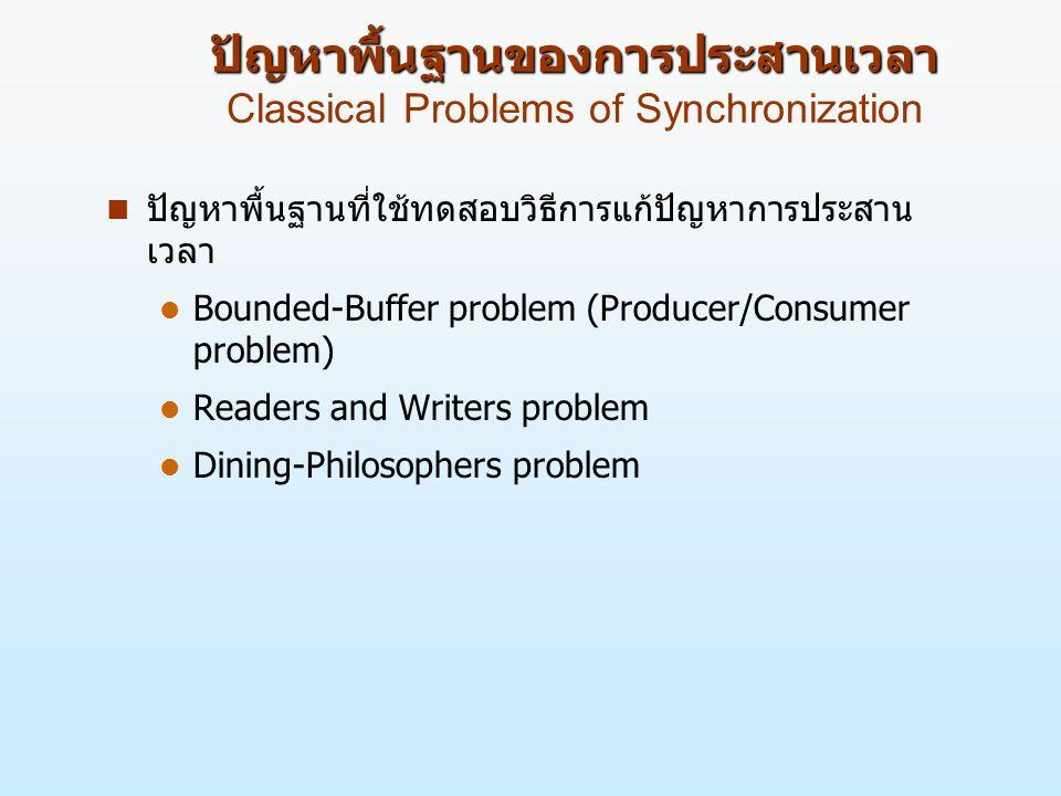 ปัญหาพื้นฐานของการประสานเวลา ปัญหาพื้นฐานของการประสานเวลา Classical Problems of Synchronization n ปัญหาพื้นฐานที่ใช้ทดสอบวิธีการแก้ปัญหาการประสาน เวลา l Bounded-Buffer problem (Producer/Consumer problem) l Readers and Writers problem l Dining-Philosophers problem