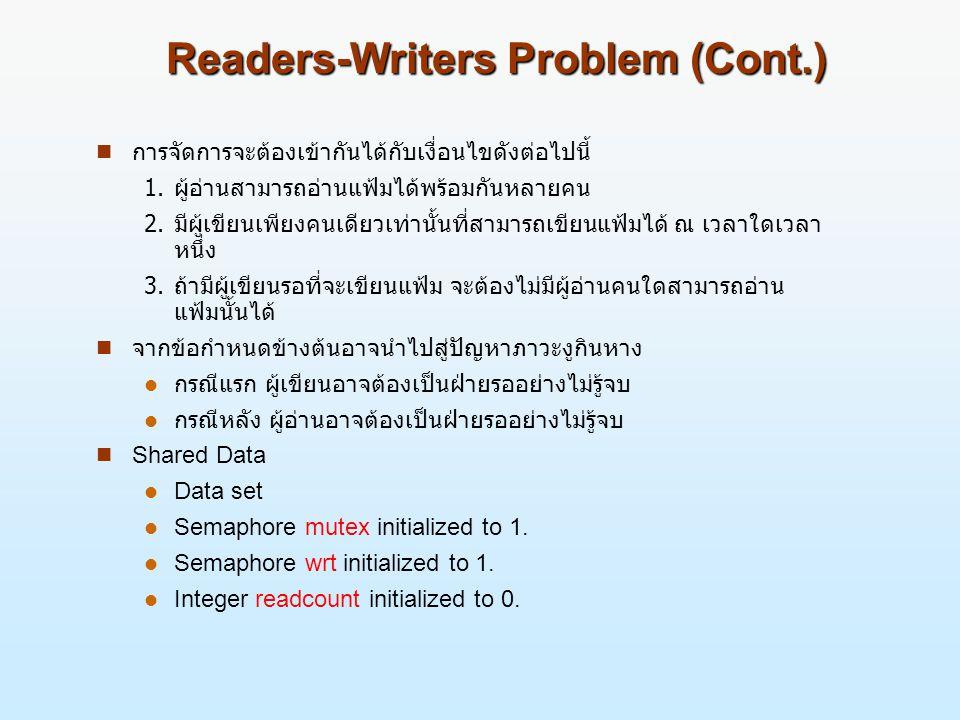 Readers-Writers Problem (Cont.) n การจัดการจะต้องเข้ากันได้กับเงื่อนไขดังต่อไปนี้ 1.ผู้อ่านสามารถอ่านแฟ้มได้พร้อมกันหลายคน 2.มีผู้เขียนเพียงคนเดียวเท่านั้นที่สามารถเขียนแฟ้มได้ ณ เวลาใดเวลา หนึ่ง 3.ถ้ามีผู้เขียนรอที่จะเขียนแฟ้ม จะต้องไม่มีผู้อ่านคนใดสามารถอ่าน แฟ้มนั้นได้ n จากข้อกำหนดข้างต้นอาจนำไปสู่ปัญหาภาวะงูกินหาง l กรณีแรก ผู้เขียนอาจต้องเป็นฝ่ายรออย่างไม่รู้จบ l กรณีหลัง ผู้อ่านอาจต้องเป็นฝ่ายรออย่างไม่รู้จบ Shared Data Data set Semaphore mutex initialized to 1.