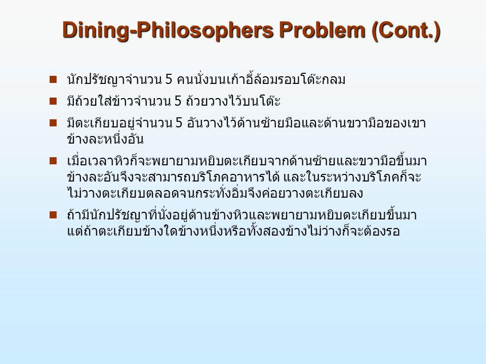 Dining-Philosophers Problem (Cont.) n นักปรัชญาจำนวน 5 คนนั่งบนเก้าอี้ล้อมรอบโต๊ะกลม n มีถ้วยใส่ข้าวจำนวน 5 ถ้วยวางไว้บนโต๊ะ n มีตะเกียบอยู่จำนวน 5 อันวางไว้ด้านซ้ายมือและด้านขวามือของเขา ข้างละหนึ่งอัน n เมื่อเวลาหิวก็จะพยายามหยิบตะเกียบจากด้านซ้ายและขวามือขึ้นมา ข้างละอันจึงจะสามารถบริโภคอาหารได้ และในระหว่างบริโภคก็จะ ไม่วางตะเกียบตลอดจนกระทั่งอิ่มจึงค่อยวางตะเกียบลง n ถ้ามีนักปรัชญาที่นั่งอยู่ด้านข้างหิวและพยายามหยิบตะเกียบขึ้นมา แต่ถ้าตะเกียบข้างใดข้างหนึ่งหรือทั้งสองข้างไม่ว่างก็จะต้องรอ