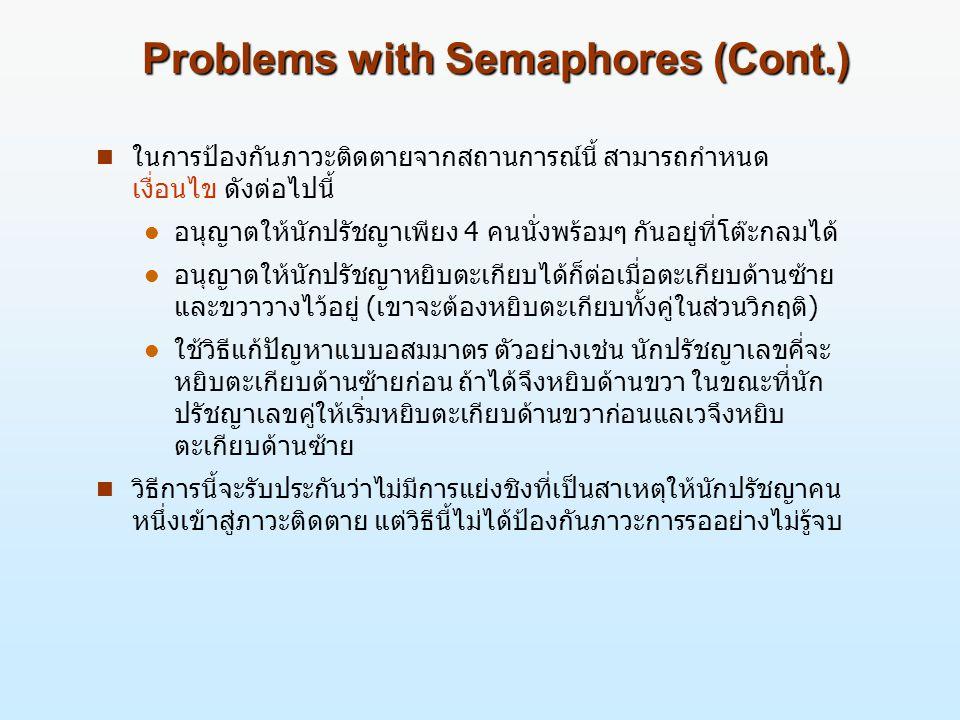 Problems with Semaphores (Cont.) n ในการป้องกันภาวะติดตายจากสถานการณ์นี้ สามารถกำหนด เงื่อนไข ดังต่อไปนี้ l อนุญาตให้นักปรัชญาเพียง 4 คนนั่งพร้อมๆ กันอยู่ที่โต๊ะกลมได้ l อนุญาตให้นักปรัชญาหยิบตะเกียบได้ก็ต่อเมื่อตะเกียบด้านซ้าย และขวาวางไว้อยู่ (เขาจะต้องหยิบตะเกียบทั้งคู่ในส่วนวิกฤติ) l ใช้วิธีแก้ปัญหาแบบอสมมาตร ตัวอย่างเช่น นักปรัชญาเลขคี่จะ หยิบตะเกียบด้านซ้ายก่อน ถ้าได้จึงหยิบด้านขวา ในขณะที่นัก ปรัชญาเลขคู่ให้เริ่มหยิบตะเกียบด้านขวาก่อนแลเวจึงหยิบ ตะเกียบด้านซ้าย n วิธีการนี้จะรับประกันว่าไม่มีการแย่งชิงที่เป็นสาเหตุให้นักปรัชญาคน หนึ่งเข้าสู่ภาวะติดตาย แต่วิธีนี้ไม่ได้ป้องกันภาวะการรออย่างไม่รู้จบ