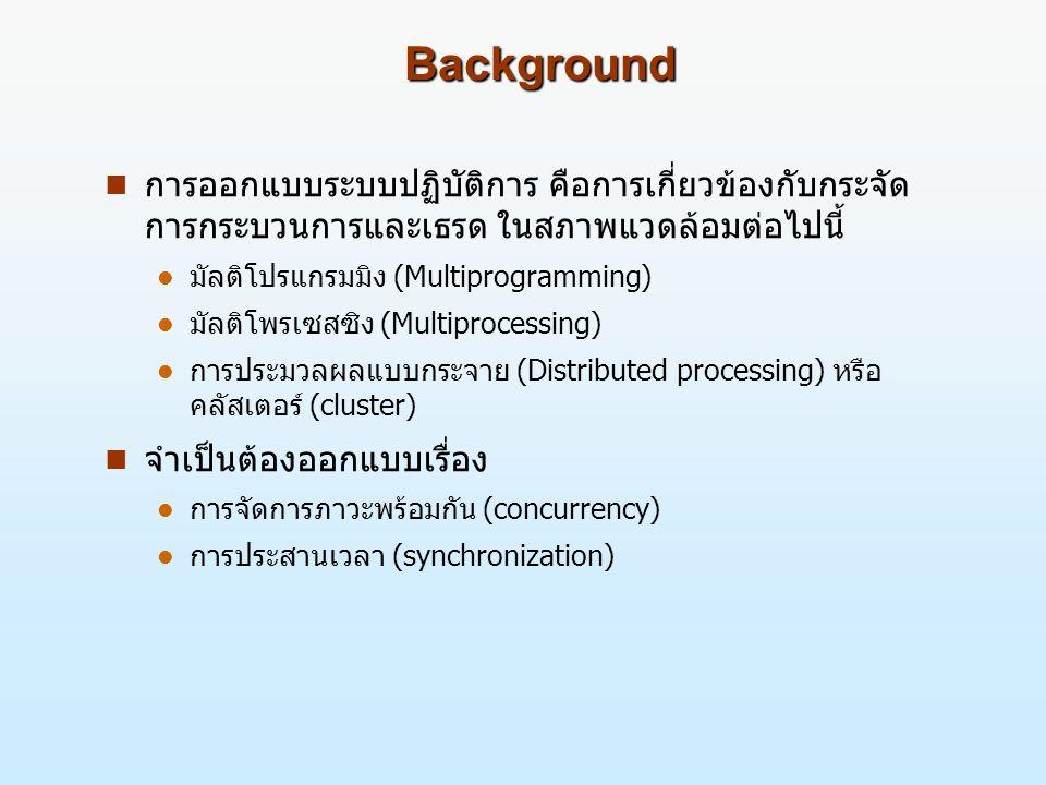 Background (2) n ภาวะพร้อมกันมักเกิดขึ้นภายใต้สภาพแวดล้อมที่ แตกต่างกัน ดังนี้ l แอพพลิเคชันหลายชุด  สภาพแวดล้อมแบบมัลติโปรแกรมมิงยินยอมให้แอพพลิเคชัน หลายตัวสามารถกระทำการในเวลาเดียวกันได้ l โครงสร้างของแอพพลิเคชัน  ภายใต้แนวคิดของการออกแบบมอดุลาร์และโปรแกรมแบบ โครงสร้าง บางแอพพลิเคชันสามารถทำงานได้อย่างมี ประสิทธิภาพเมื่อมีการเรียกใช้กระบวนการร่วมกัน l โครงสร้างระบบปฏิบัติการ  ระบบปฏิบัติการสมัยใหม่ได้มีการออกแบบให้กลุ่มกระบวนการ สามารถทำงานไปพร้อมๆ กันได้