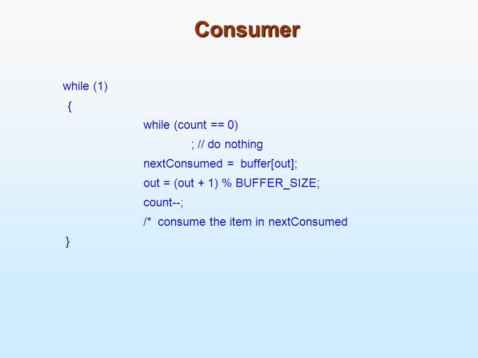 Dining-Philosophers Problem Shared data Bowl of rice (data set) Semaphore chopstick [5] initialized to 1