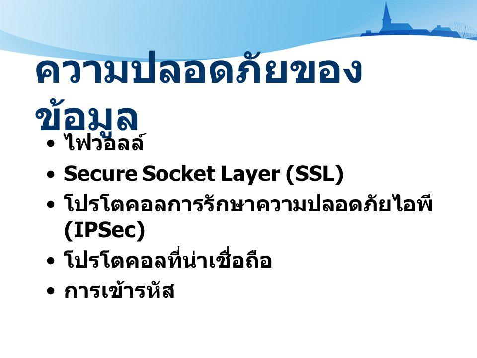 ความปลอดภัยของ ข้อมูล ไฟวอลล์ Secure Socket Layer (SSL) โปรโตคอลการรักษาความปลอดภัยไอพี (IPSec) โปรโตคอลที่น่าเชื่อถือ การเข้ารหัส