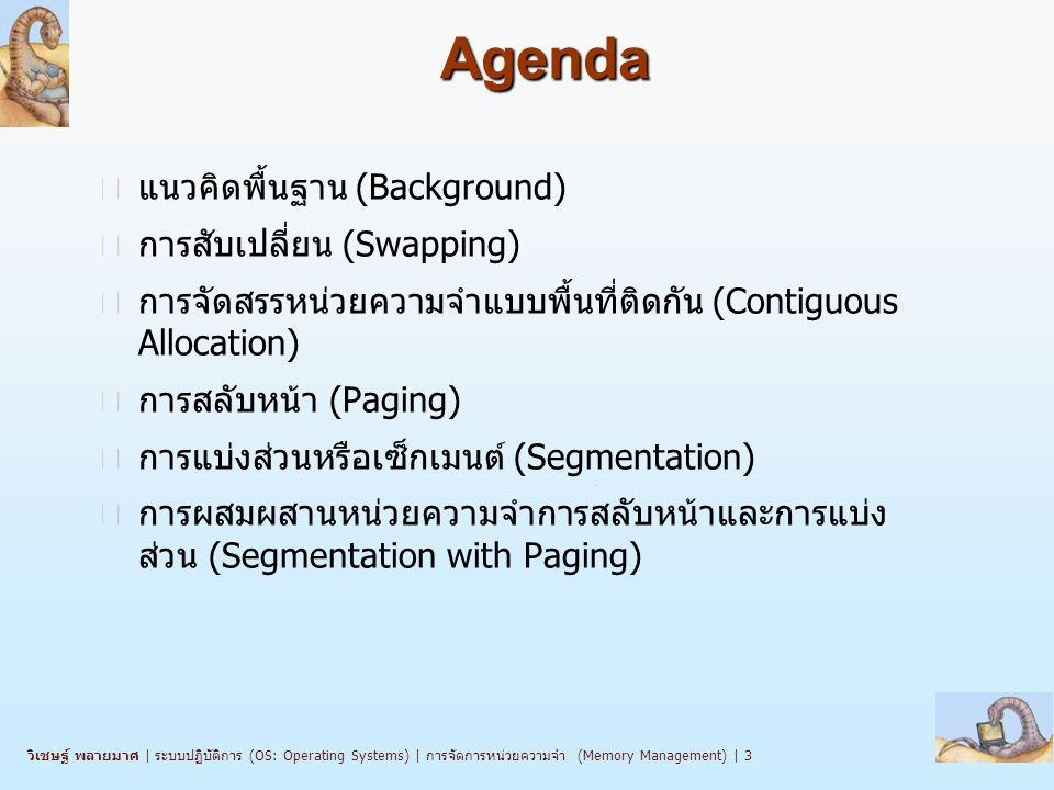 วิเชษฐ์ พลายมาศ   ระบบปฏิบัติการ (OS: Operating Systems)   การจัดการหน่วยความจำ (Memory Management)   3 Agenda n แนวคิดพื้นฐาน (Background) n การสับเปลี่ยน (Swapping) n การจัดสรรหน่วยความจำแบบพื้นที่ติดกัน (Contiguous Allocation) n การสลับหน้า (Paging) n การแบ่งส่วนหรือเซ็กเมนต์ (Segmentation) n การผสมผสานหน่วยความจำการสลับหน้าและการแบ่ง ส่วน (Segmentation with Paging)