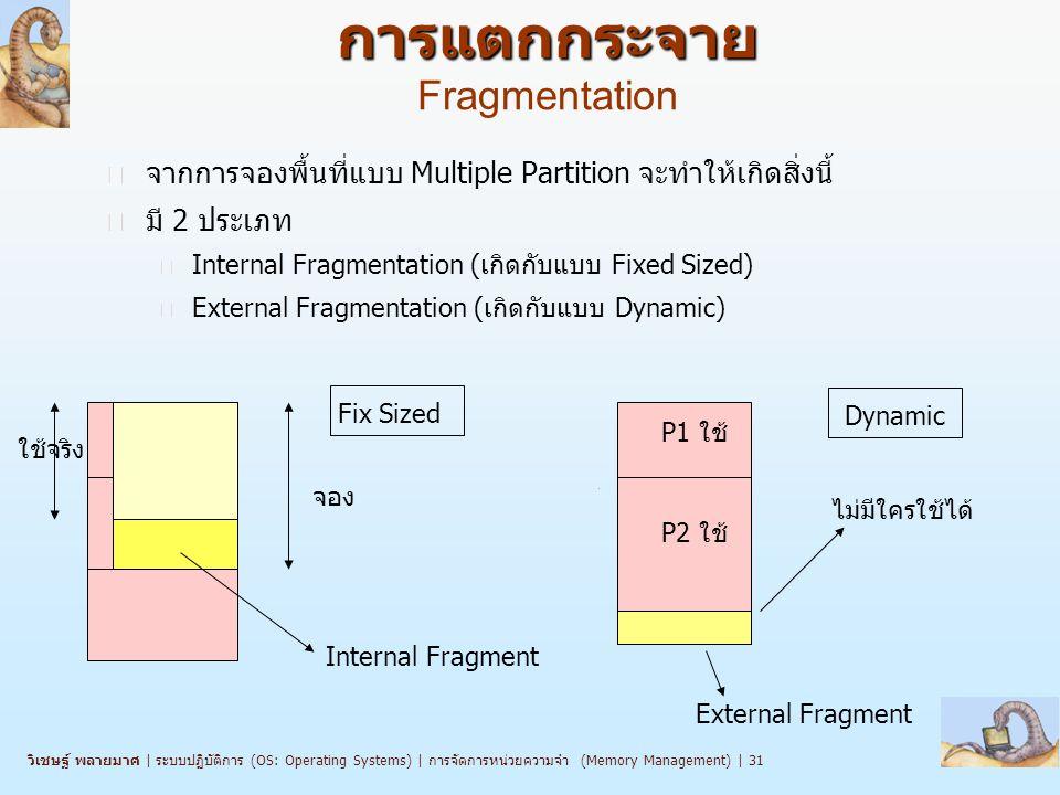 วิเชษฐ์ พลายมาศ   ระบบปฏิบัติการ (OS: Operating Systems)   การจัดการหน่วยความจำ (Memory Management)   31 การแตกกระจาย การแตกกระจาย Fragmentation n จากการจองพื้นที่แบบ Multiple Partition จะทำให้เกิดสิ่งนี้ n มี 2 ประเภท l Internal Fragmentation (เกิดกับแบบ Fixed Sized) l External Fragmentation (เกิดกับแบบ Dynamic) จอง ใช้จริง Internal Fragment P1 ใช้ P2 ใช้ External Fragment ไม่มีใครใช้ได้ Fix Sized Dynamic