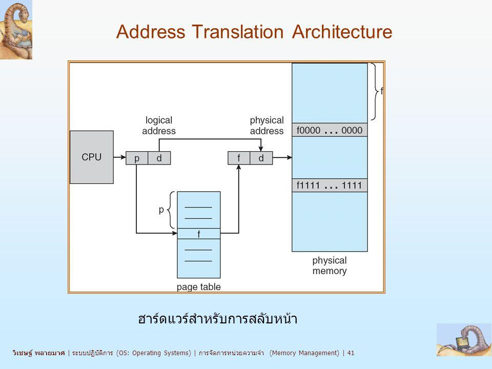 วิเชษฐ์ พลายมาศ   ระบบปฏิบัติการ (OS: Operating Systems)   การจัดการหน่วยความจำ (Memory Management)   41 Address Translation Architecture ฮาร์ดแวร์สำหรับการสลับหน้า