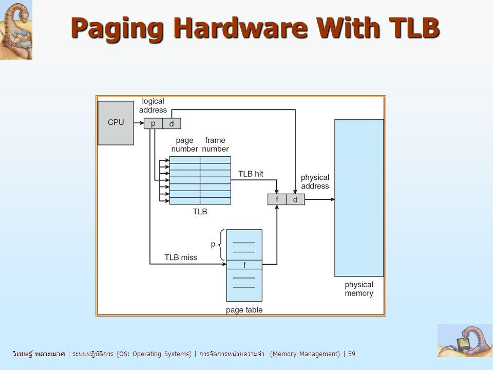 วิเชษฐ์ พลายมาศ   ระบบปฏิบัติการ (OS: Operating Systems)   การจัดการหน่วยความจำ (Memory Management)   59 Paging Hardware With TLB