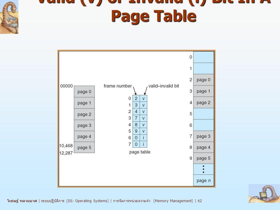 วิเชษฐ์ พลายมาศ   ระบบปฏิบัติการ (OS: Operating Systems)   การจัดการหน่วยความจำ (Memory Management)   62 Valid (v) or Invalid (i) Bit In A Page Table