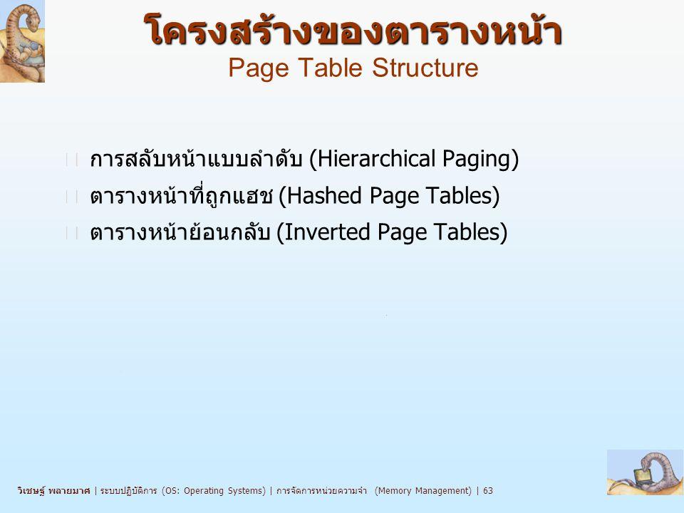 วิเชษฐ์ พลายมาศ   ระบบปฏิบัติการ (OS: Operating Systems)   การจัดการหน่วยความจำ (Memory Management)   63 โครงสร้างของตารางหน้า โครงสร้างของตารางหน้า Page Table Structure n การสลับหน้าแบบลำดับ (Hierarchical Paging) n ตารางหน้าที่ถูกแฮช (Hashed Page Tables) n ตารางหน้าย้อนกลับ (Inverted Page Tables)