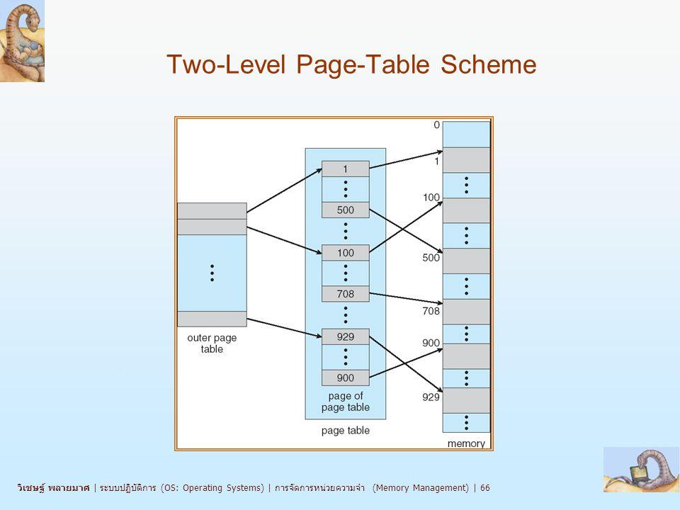 วิเชษฐ์ พลายมาศ   ระบบปฏิบัติการ (OS: Operating Systems)   การจัดการหน่วยความจำ (Memory Management)   66 Two-Level Page-Table Scheme