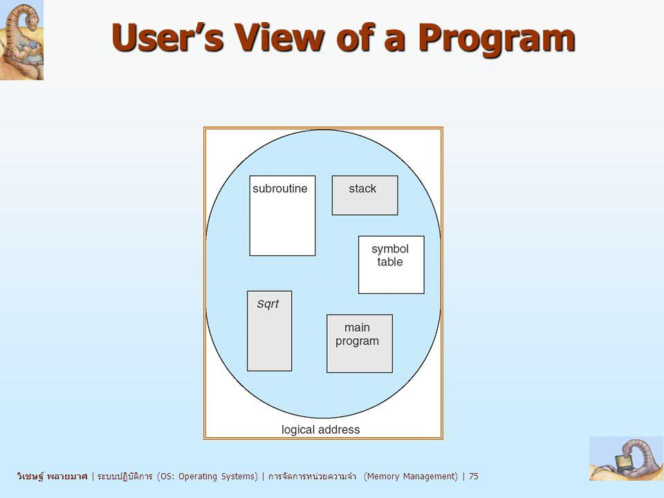 วิเชษฐ์ พลายมาศ | ระบบปฏิบัติการ (OS: Operating Systems) | การจัดการหน่วยความจำ (Memory Management) | 75 User's View of a Program
