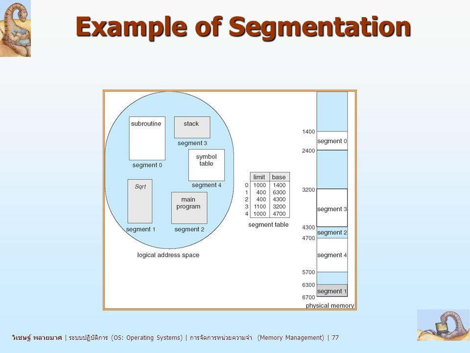 วิเชษฐ์ พลายมาศ   ระบบปฏิบัติการ (OS: Operating Systems)   การจัดการหน่วยความจำ (Memory Management)   77 Example of Segmentation
