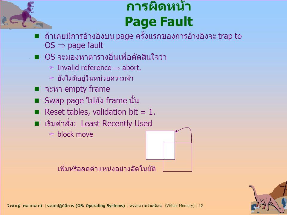วิเชษฐ์ พลายมาศ | ระบบปฏิบัติการ (OS: Operating Systems) | หน่วยความจำเสมือน (Virtual Memory) | 12 การผิดหน้า Page Fault n ถ้าเคยมีการอ้างอิงบน page ค