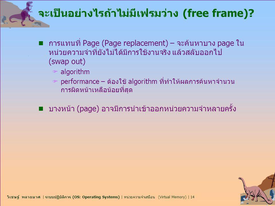 วิเชษฐ์ พลายมาศ | ระบบปฏิบัติการ (OS: Operating Systems) | หน่วยความจำเสมือน (Virtual Memory) | 14 จะเป็นอย่างไรถ้าไม่มีเฟรมว่าง (free frame)? n การแท